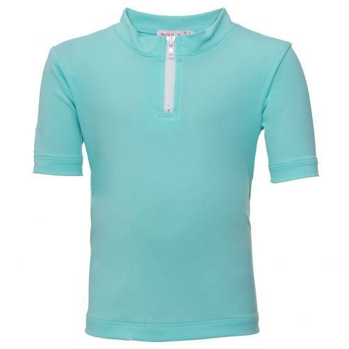 Petit-Crabe---UV-werend-shirt-korte-mouwen-en-rits---Mint