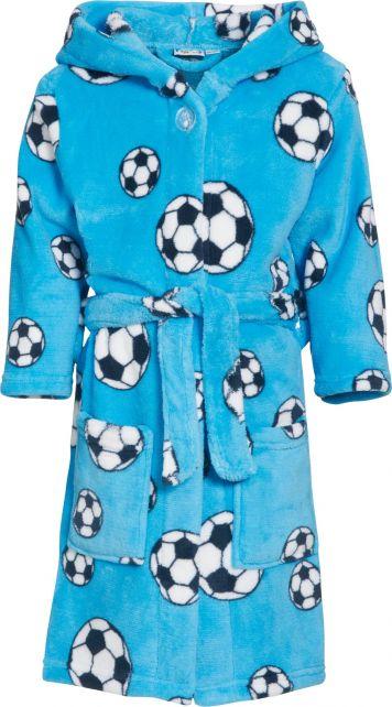 Playshoes---Fleece-badjas-met-capuchon---Voetbal-blauw
