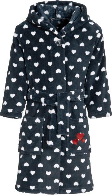 Playshoes---Fleece-badjas-met-capuchon-voor-meisjes---blauw-&-hartjes