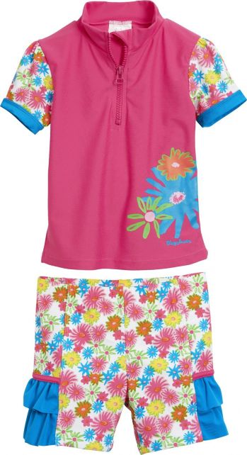 Playshoes---UV-tweedelige-set-zwemkleding---Bloemen-roze-ruches