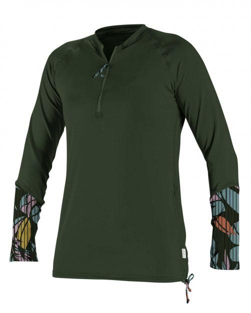 O'Neill---UV-shirt-voor-dames---Longsleeve---Front-Zip---Olijfgroen
