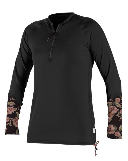 O'Neill---UV-shirt-voor-dames---Longsleeve---Front-Zip---Zwart