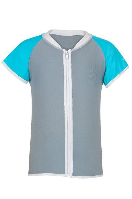 Snapper-Rock---UV-zwemshirt-en-rits-voor-meisjes---Aqua/Grijs