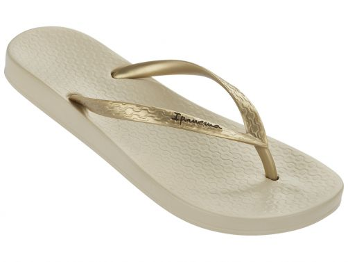 Ipanema---slippers-voor-dames--Anatomic-Tan---wit-&-goud-bandje