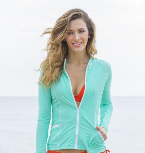 Cabana-Life---UV-zwemtop-met-rits-voor-dames---Groen