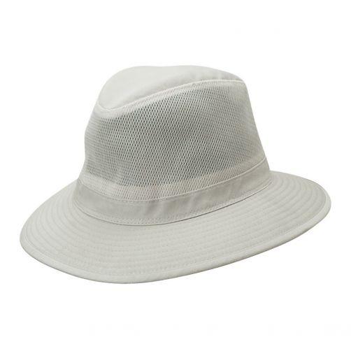 Dorfman-Pacific---UV-werende-ventilerende-hoed---heren---Gebroken-wit