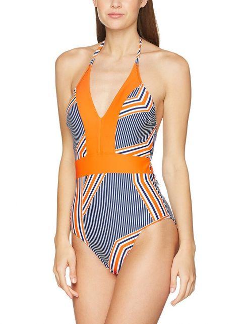 Cabana-Life---UV-trendy-badpak-met-strepen---Oranje-met-blauw-