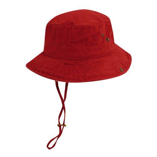 Dorfman-Pacific---UV-werende-bucket-hoed-voor-heren---Rood/Donkerblauw