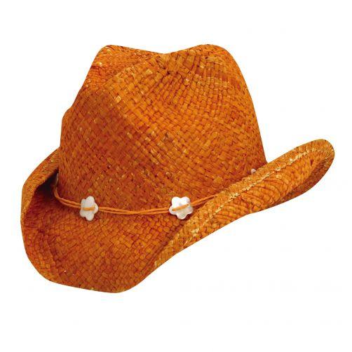 Dorfman-Pacific---Cowgirl-hoed-met-schelpen-voor-kinderen---Oranje