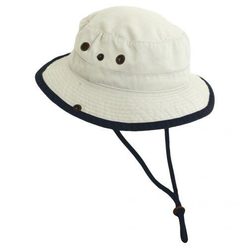 Dorfman-Pacific---UV-hoed-voor-kinderen---Gebroken-wit/Donkerblauw