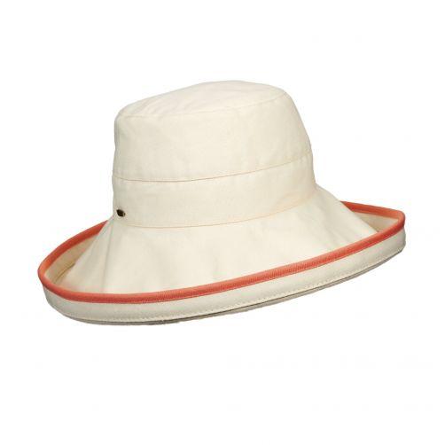 Scala---UV-katoenen-hoed-voor-dames---Gebroken-wit/Rood
