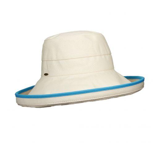 Scala---UV-katoenen-hoed-voor-dames---Gebroken-wit/Turkoois