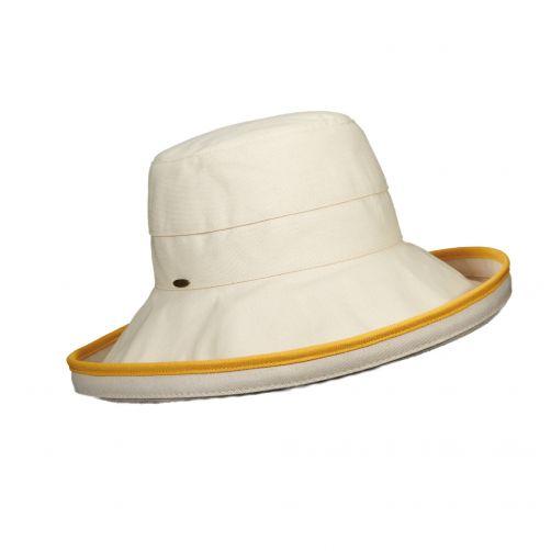 Scala---UV-katoenen-hoed-voor-dames---Gebroken-wit/Geel