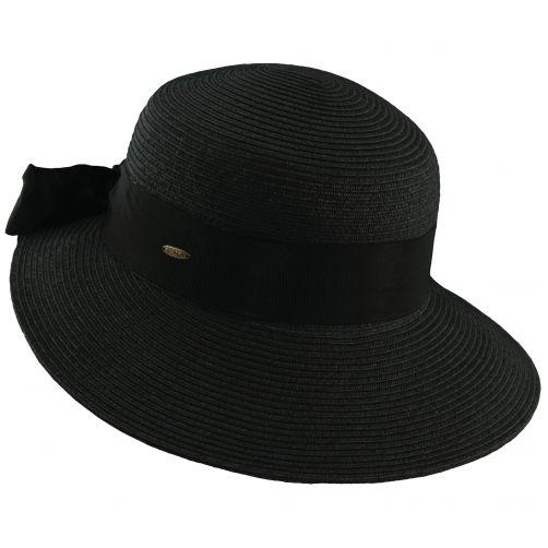 Scala---UV-gevlochten-hoed-voor-dames---Zwart