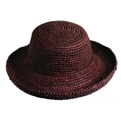 Scala---Gehaakte-Raffia-hoed-voor-dames---Bruin