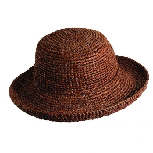 Scala---Gehaakte-Raffia-hoed-voor-dames---Roodbruin