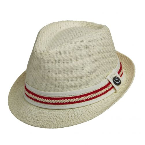 Tropical-Trends---Papier-gevlochten-Fedora-hoed-voor-dames---Rood