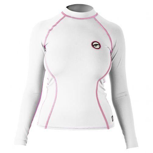 Prolimit---Zwemshirt-voor-dames-met-lange-mouwen---Wit-/-roze