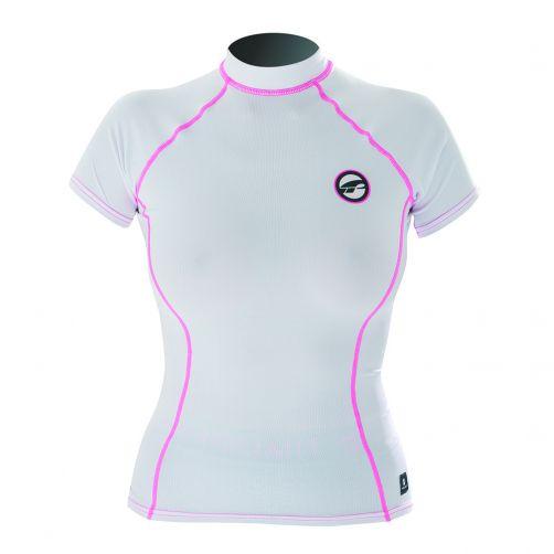Prolimit---Zwemshirt-voor-dames-met-korte-mouwen---Wit-/-roze