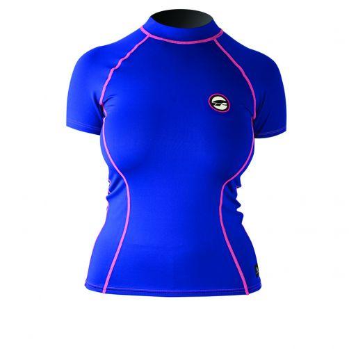 Prolimit---Zwemshirt-voor-dames-met-korte-mouwen---Blauw-/-roze